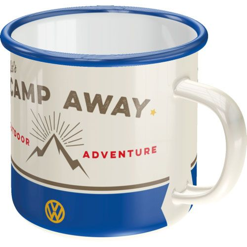 Emaille-Becher-VW lets camp away-vorn
