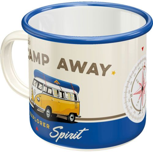 Emaille-Becher-VW lets camp away-hinten