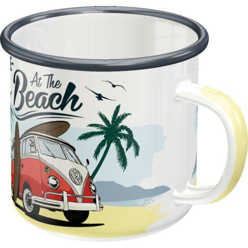 emaille-becher-vw-bulli-beach-vorn