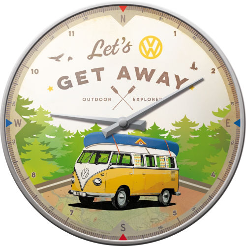 Wanduhr-VW-Bulli-Lets-Get-Away